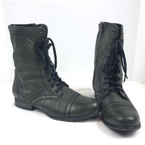 Steve Madden Troopa Combat Boots Army Green Sz 9.5